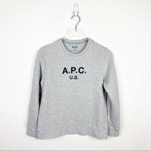 A.P.C US Crewneck Sweatshirt Pullover Gray Sz L